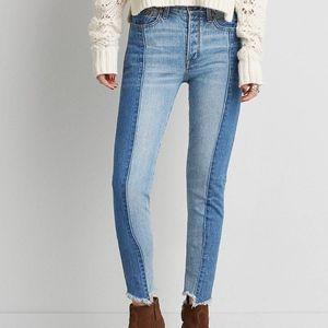 American Eagle two tone vintage hi-rise jeans